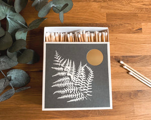 Luxury Large Boxed Matches Silver Fern Design