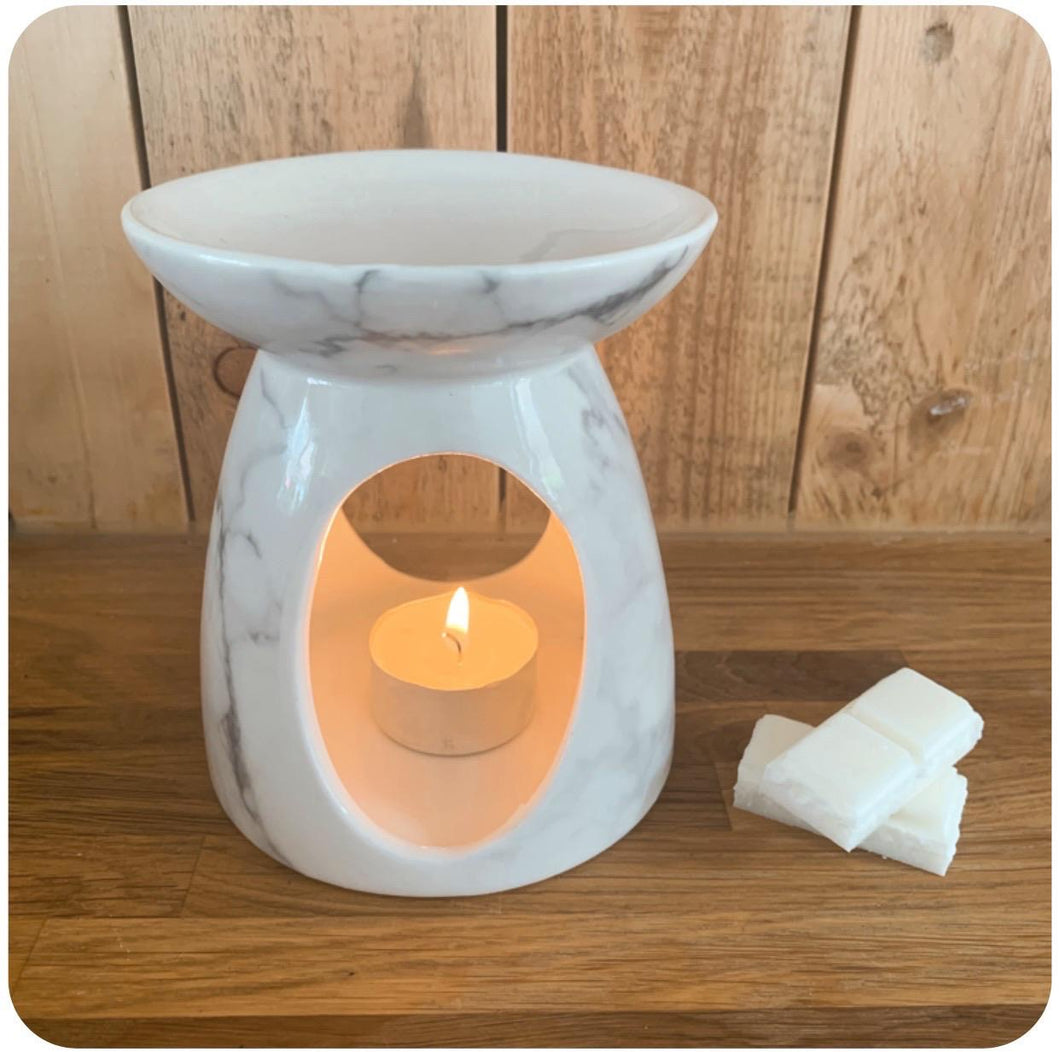 White Marbled Ceramic Wax Melt Burner