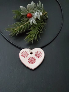 Red Flowery Heart Necklace/Pendant