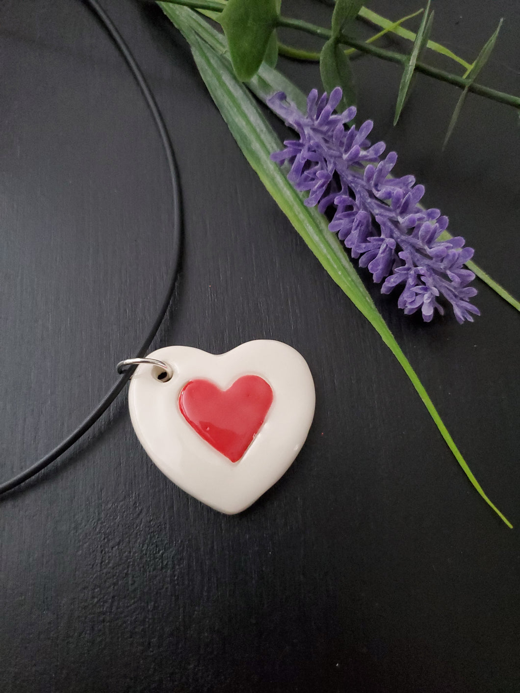 Red Heart on Heart Pendant/Necklace
