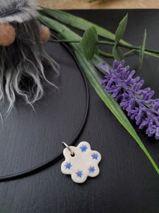 Blue Flowers on Flower Pendant/Necklace