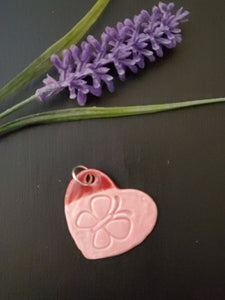 Pink Butterfly Heart Pendant/Necklace