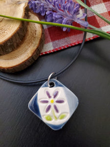 Purple Flower on Square Pendant/Necklace