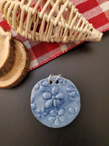 Round Blue Flowers Pendant/Necklace