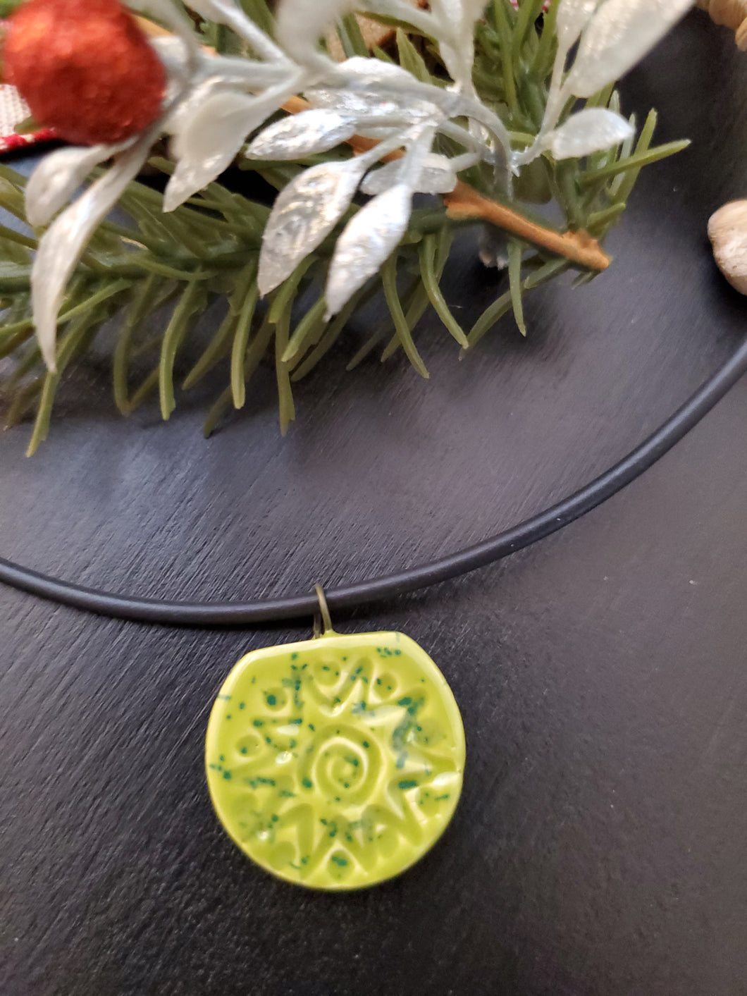 Lime Green Starburst Pendant/Necklace
