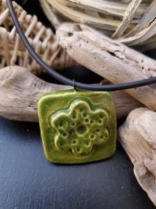 Lime Green Flower Pendant/Necklace