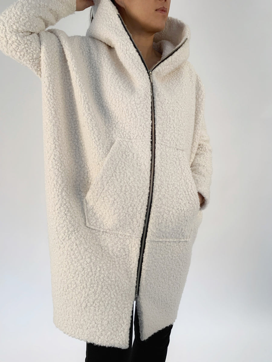 Hooded Zip Cocoon Coat - PERIPHERY