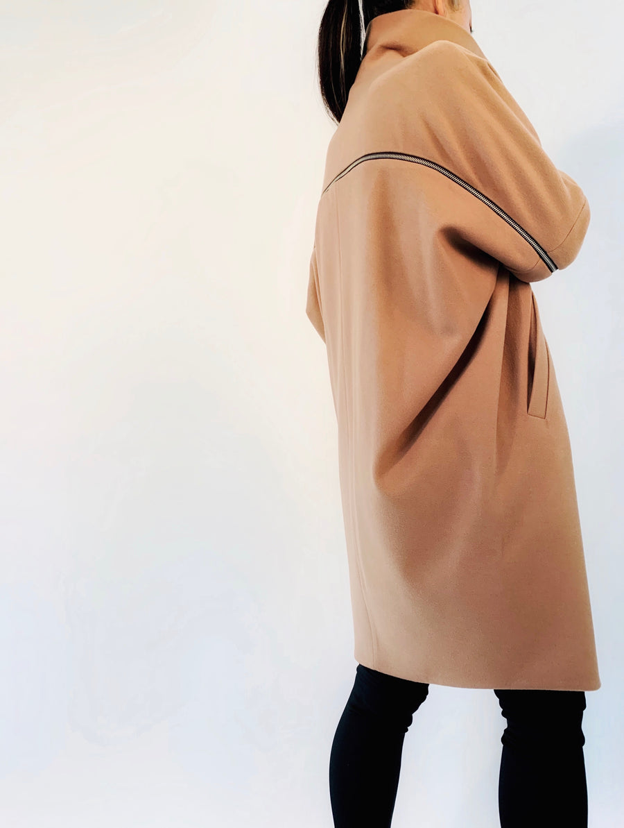 Duo Zip Coat in Camel - PERIPHERY