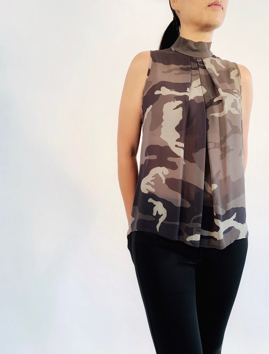 Pleat Neck Top in Camolicious - PERIPHERY