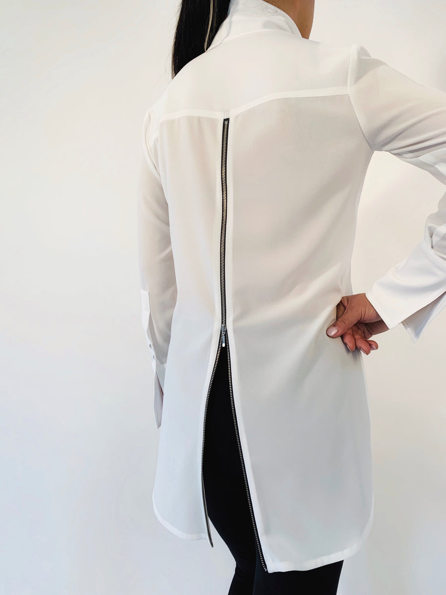 Zip Back Blouse in White - PERIPHERY
