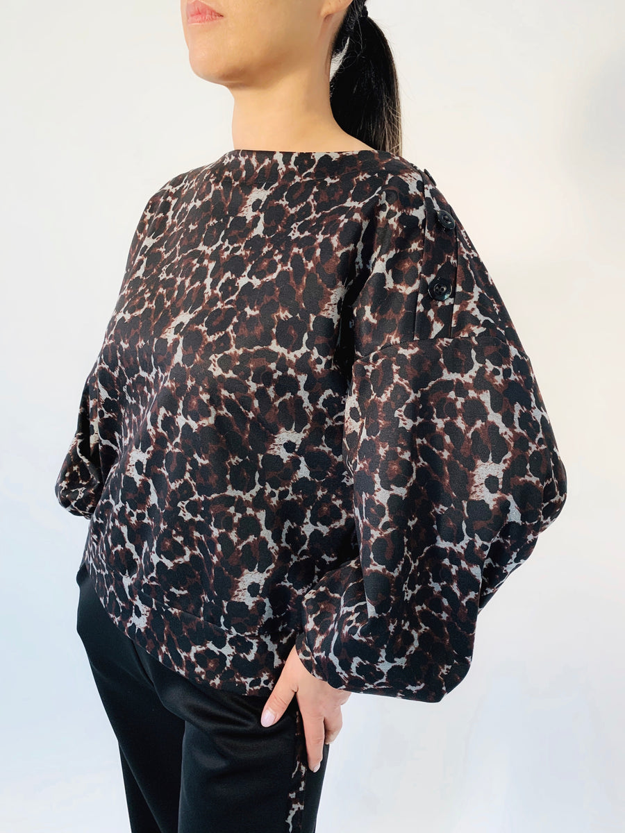 Button Shoulder Top in Oxidized Cheetah - PERIPHERY