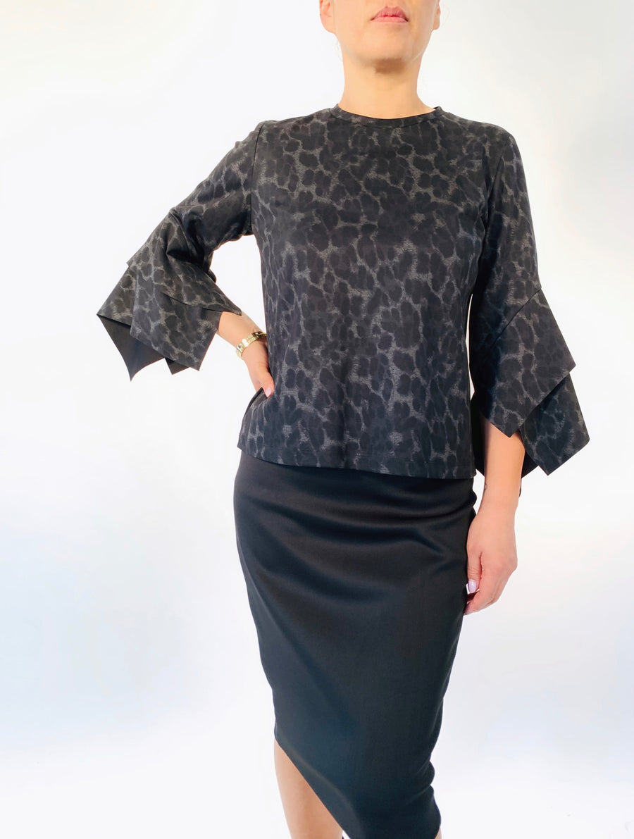Layered Sleeve Top in Carbon Cheetah - PERIPHERY