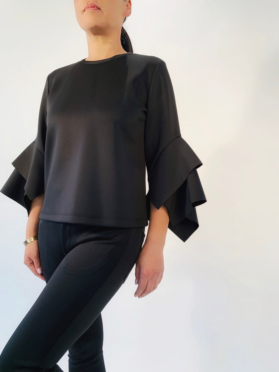 Layered Sleeve Top in Black - PERIPHERY