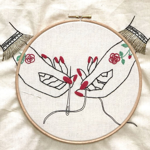 Embroidery Stitch-a-long. Part 6: let's put some nail polish and learn the Satin Stitch!