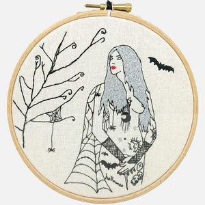Autumn Tattooed Lady Embroidery Kit - VintageMadbyM