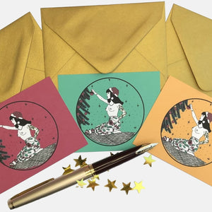 Christmas Tattooed Lady Set of 3 Mini Postcards with Metallic Gold Enveloppes - VintageMadbyM