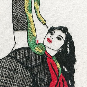Modern Embroidery, Wall Art, Hoop Art, They Call my Girl the Snake Charmer - VintageMadbyM
