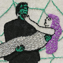 Load image into Gallery viewer, Modern Embroidery, Wall Art, Hoop Art, Frankenstein & the Mermaid - VIntageMadbyM