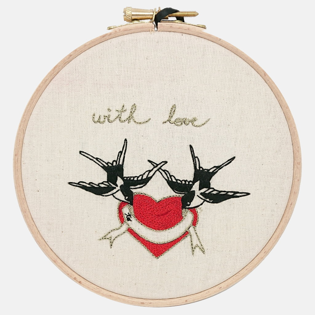Love Swallows, Traditional Sailor's Tattoo Embroidery Kit - VintageMadbyM