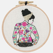 Load image into Gallery viewer, Modern Embroidery, Wall Art, Hoop Art, The Spring Tattooed Lady - VintageMadbyM