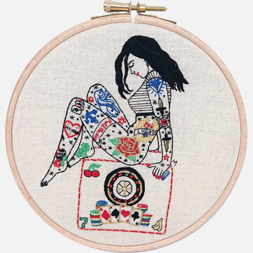 The Gambler Tattooed Lady, GIFT BOX Embroidery Kit & Goodies - VintageMadbyM
