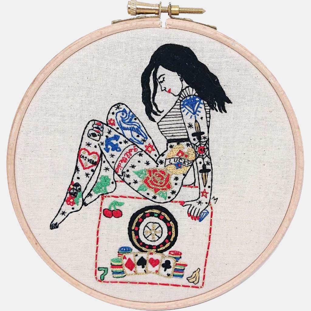 The Gambler Tattooed Lady Embroidery PDF Pattern & Tutorial - VintageMadbyM