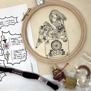 The Gambler Tattooed Lady Embroidery Kit - VintageMadbyM