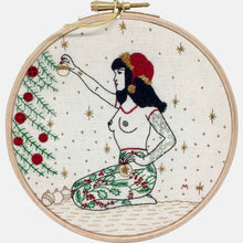 Load image into Gallery viewer, Modern Embroidery, Wall Art, Hoop Art, Winter Tattooed Lady inspired by Betty Page - VintageMadbyM