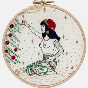 Modern Embroidery, Wall Art, Hoop Art, Winter Tattooed Lady inspired by Betty Page - VintageMadbyM
