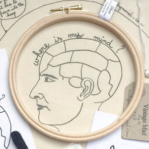 The Phrenology Head, Embroidery Kit - VintageMadbyM