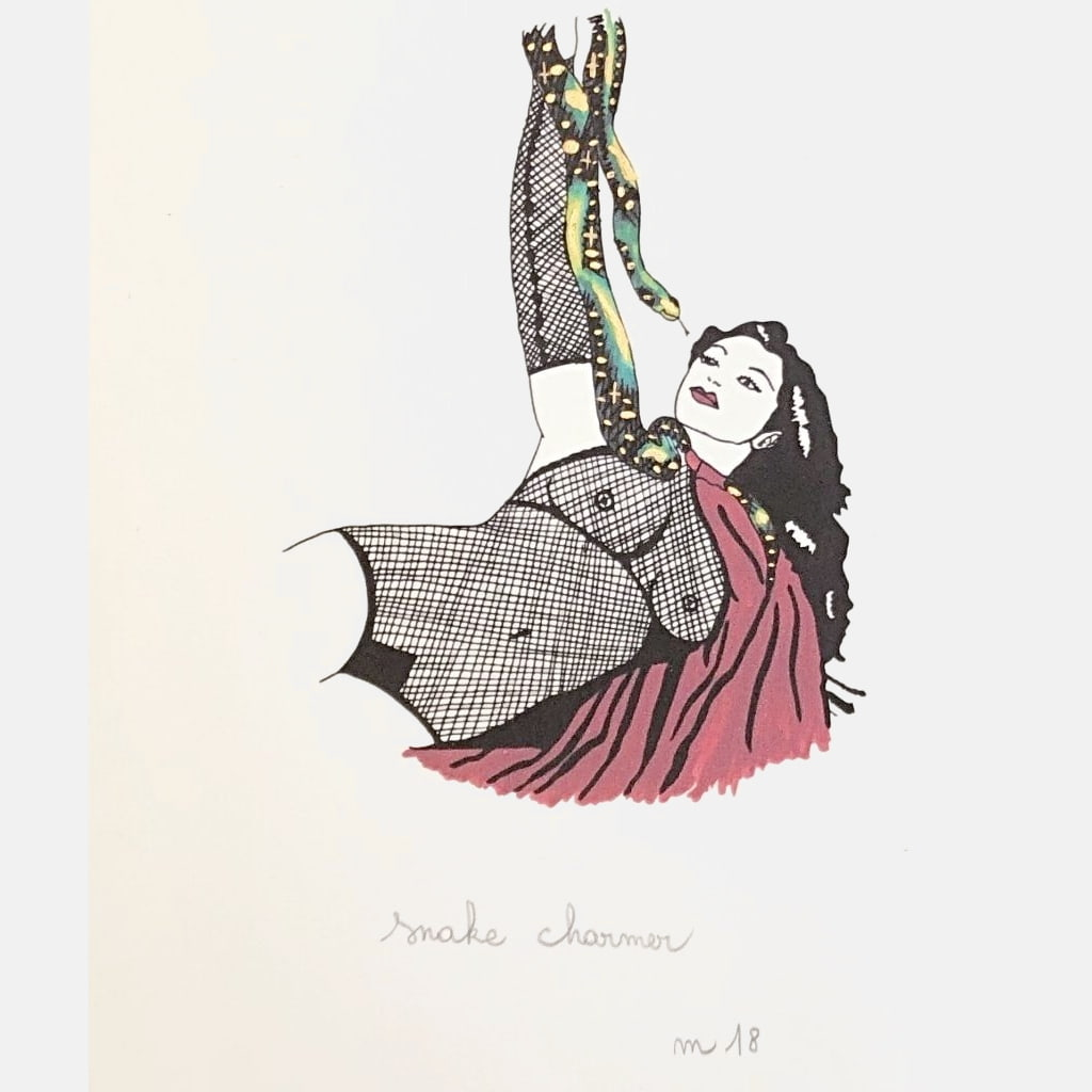 A5 Art Print, Zorita the Snake Charmer, with Metallic Gold hand painted touch - VintageMadbyM
