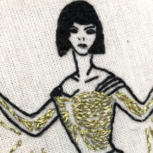 Modern Embroidery, Wall Art, Hoop Art, The Batlady, Wings of Desire - VintageMadbyM