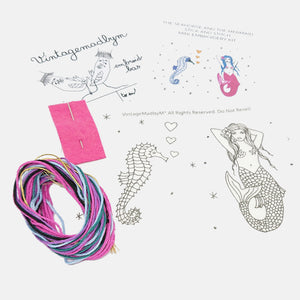 Stick and Stitch mini-Embroidery Kit, The Seahorse and the Mermaid - VintageMadbyM