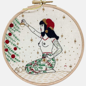 The Winter Tattooed Lady, GIFT BOX Embroidery Kit & Frida Goodies - VintageMadbyM