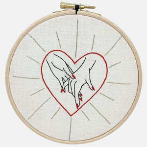 Modern Embroidery, Wall Art, Hoop Art, Hold my Hand She and Her - VintageMadbyM