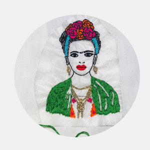 Frida Kahlo Triptych Tribute, sew on clothes Gift BOX Embroidery Kit - VintageMadbyM