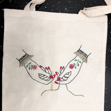 Load image into Gallery viewer, Victorian Hands Sew Tote Bag - Embroidery - VintageMadbyM