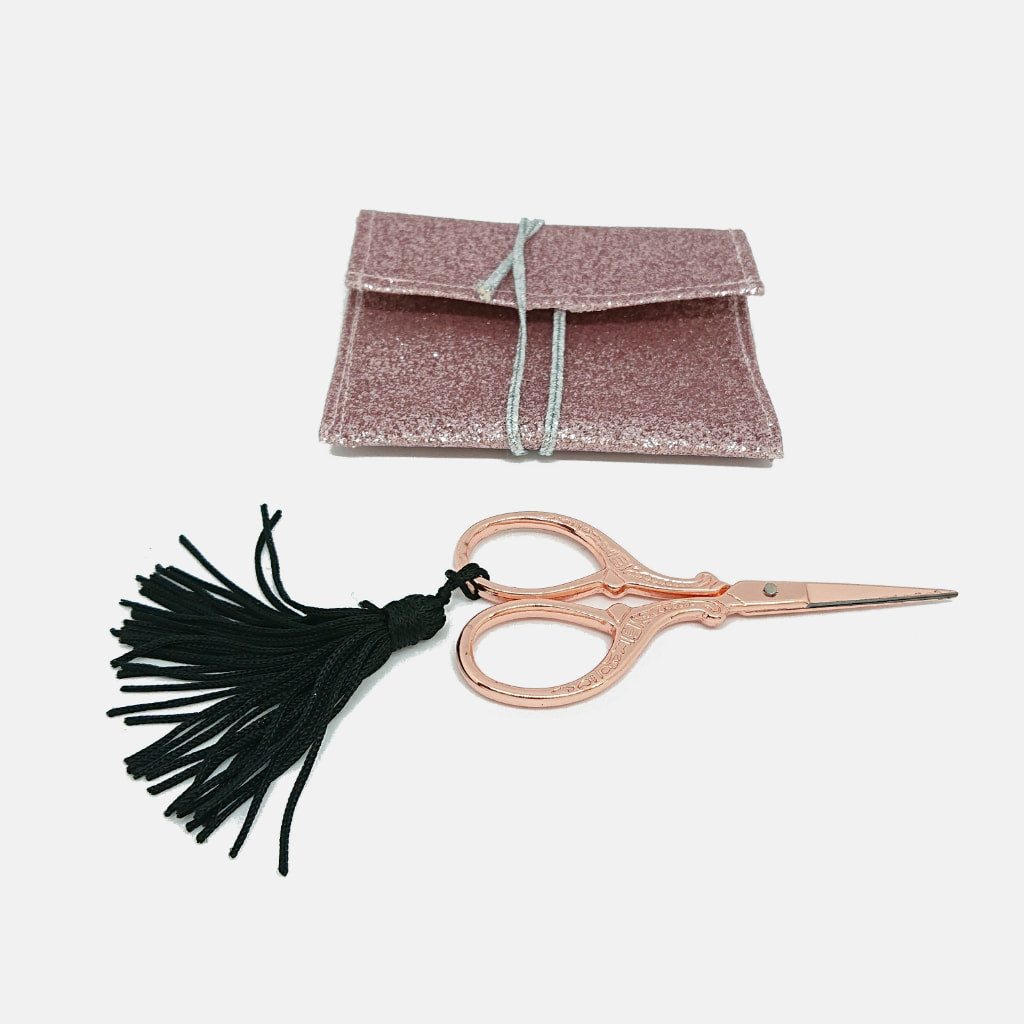 Cute Rose Gold Embroidery Scissors with Pink Glitter Purse.