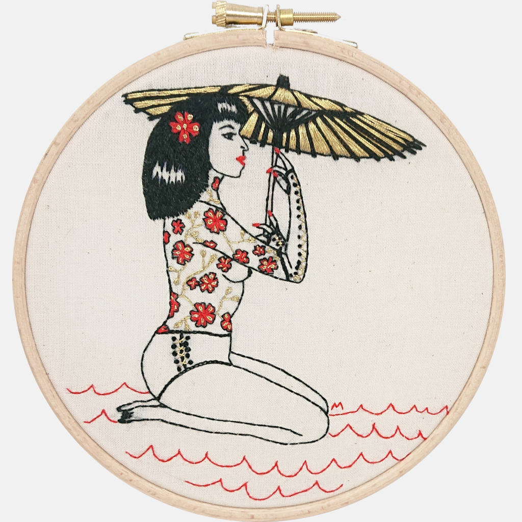 The Sakura Tattooed Lady Embroidery Kit PDF Pattern - VintageMadbyM
