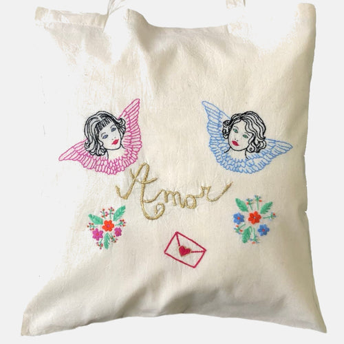 Retro Kitsch Amor Angels Tote Bag, GIFT BOX Embroidery Kit - VintageMadbyM