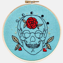 Load image into Gallery viewer, Anatomy & Botanic: Gold Leaves & Red Rose Skull Embroidery Kit - VintageMadbyM