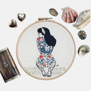 Summer Tattooed Lady Embroidery Kit - VintageMadbyM