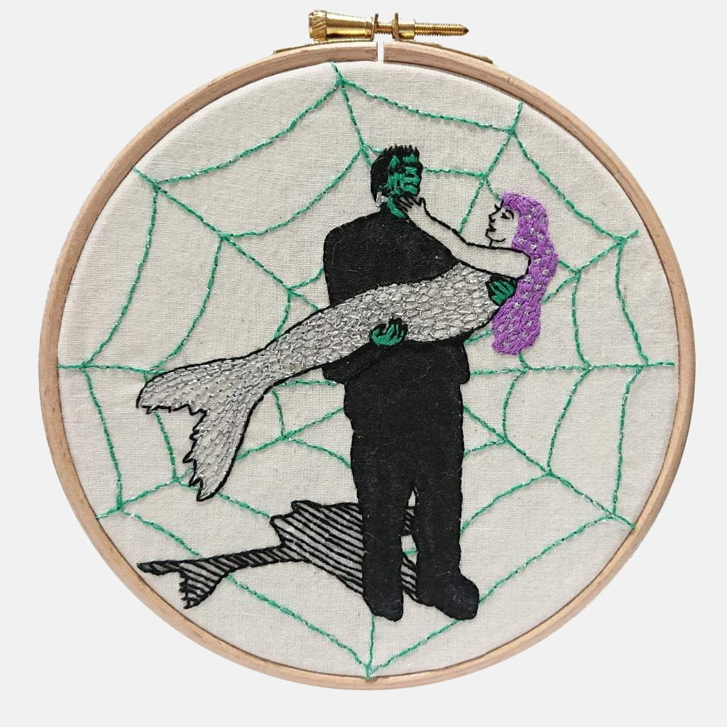 Modern Embroidery, Wall Art, Hoop Art, Frankenstein & the Mermaid - VIntageMadbyM