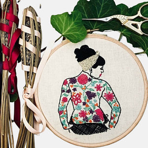 The Spring Tattooed Lady Embroidery Kit - VintageMadbyM