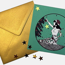 Load image into Gallery viewer, Christmas Tattooed Lady Set of 3 Postcards plus Metallic Gold Enveloppes - VintageMadbyM