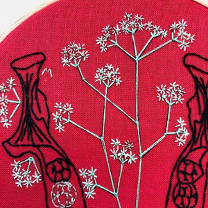 Anatomy & Botanic: Baby Breath in my Jaw Embroidery Kit - VintageMadbyM