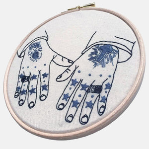 To the Stars My Love, Mark Lanegan's Tattooed Hands, Embroidery Kit - VintageMadbyM