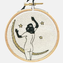 Load image into Gallery viewer, Modern Embroidery, Wall Art, Hoop Art, Rita the Moon and the Stars, inspired by John Willie - VintageMadbyM