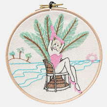 Load image into Gallery viewer, Modern Embroidery, Wall Art, Hoop Art, Summer Pin-Up - VintageMadbyM