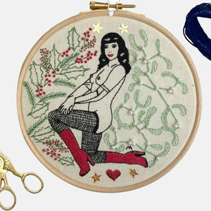 The Christmas Pin Up Embroidery Kit - VintageMadbyM